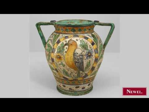 Antique Italian Neo-Classic antiques Majolica vase with
