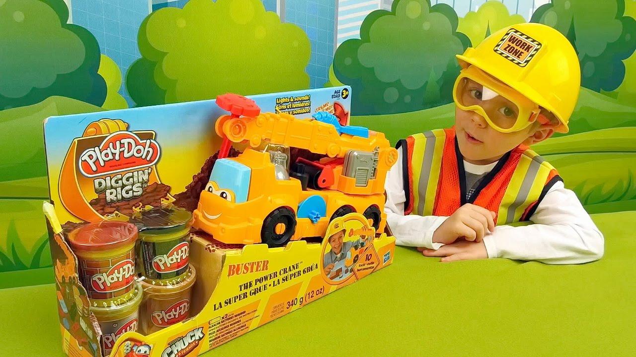 Кран Play Doh и строитель Даник - Видео для детей с пластилином Плей До