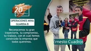 Reconocimiento 20 años de servicio - Ernesto Cuadros y Huber Ccori