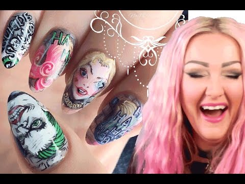 Suicide Squad Nails 2 - The Joker Nail Art Tutorial