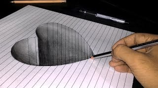 How to Draw a 3D Heart Shape | 2018 | Easy steps