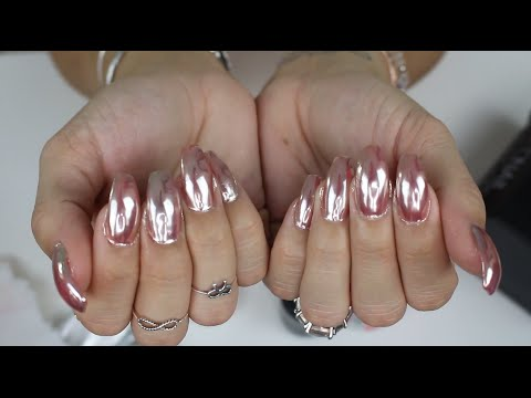 Rose Gold Chrome Mirror Nails Youtube