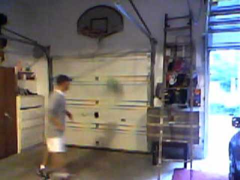 My indoor basketball hoop in my garage youtube for Basketball garage