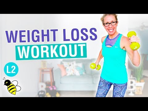 Weight loss workout for BEGINNERS, 30 minute cardio + weights without jumping