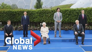 G7 summit: Leaders laugh at Queen's joke about family photo