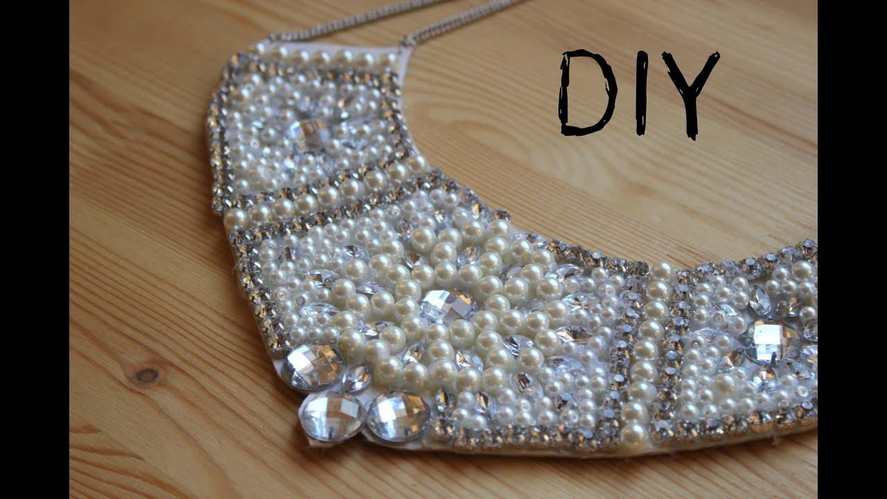Diy collar de perlas y piedras swarovski youtube for Unas con piedras swarovski
