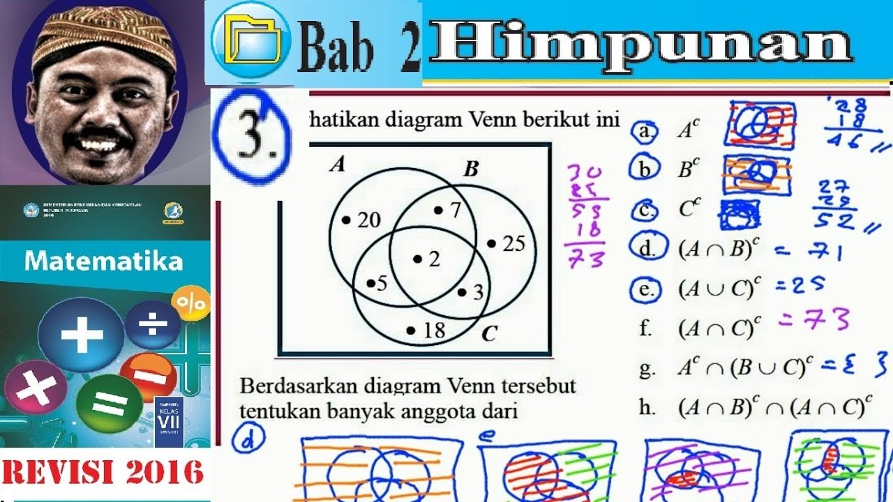 Himpunan  Matematika Kelas 7 Bse Kurikulum 2013 Revisi 2016  Lat 2 9 No3 Komplemen Himpunan