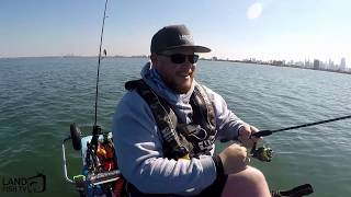 The wonky face shield and a kayak fishing first (St Kilda, Victoria, Australia)