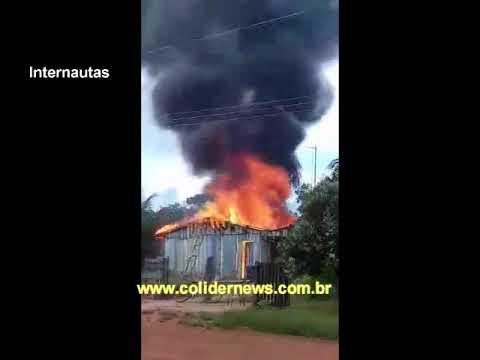 Casal tem casa destruída em incêndio no Trevo Ouro Verde em Colíder. (Vídeo)