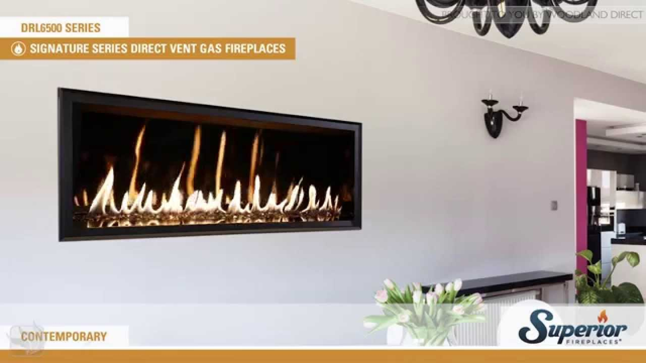 superior drl6500 direct vent linear gas fireplace with glass media