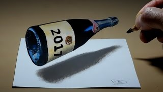 3D Trick Art on Paper, Champagne bottle