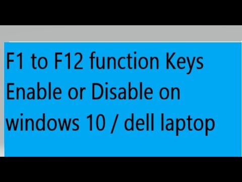 [ Hindi- How to Enable or Disable Function Keys ( F1 to F12) on Windows 10  / Dell Laptop