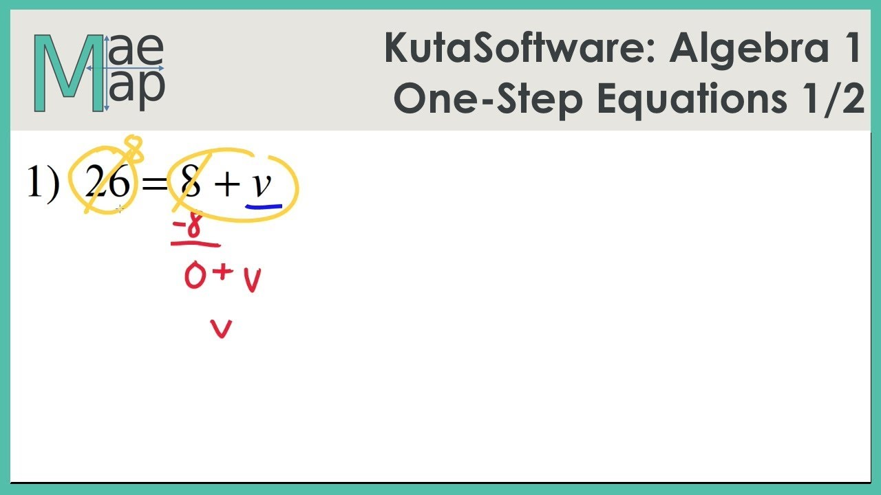 hight resolution of KutaSoftware: Algebra 1- One Step Equations Part 1 - YouTube