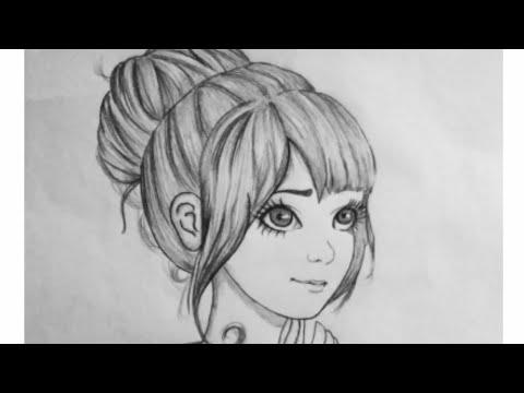 Cartoon Girl Pencil Sketch Youtube