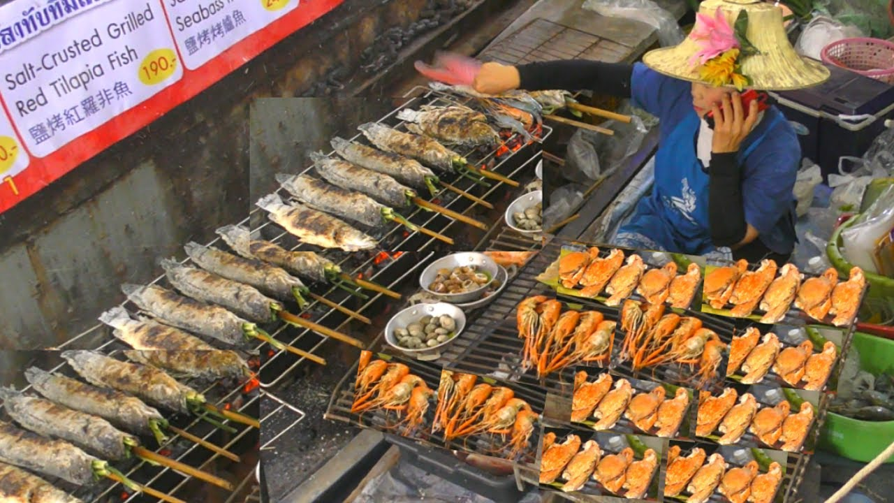 Bangkok Street Food. Grilled Seafood, Meat, Pad Thai and more at Taling Chan Floating Market