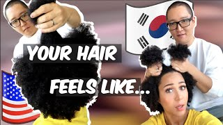 Korean Husband Tries To Style My Natural Hair