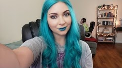 Blue Hair Blue Lips Makeup Speed Tutorial | Just Testing Out My Webcam Set Up