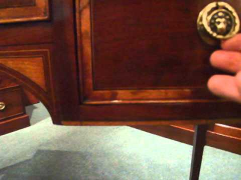 George III inlaid mahogany dressing table