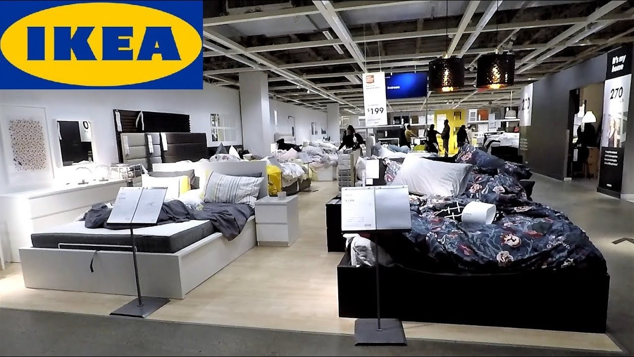 IKEA BEDS BEDROOM FURNITURE HOME DECOR - SHOP WITH ME SHOPPING STORE WALK  THROUGH 4K