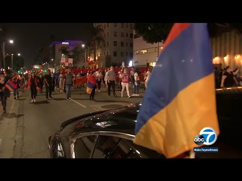 Armenian American protesters block 101 Fwy in Hollywood to bring awareness to deadly conflict I ABC7
