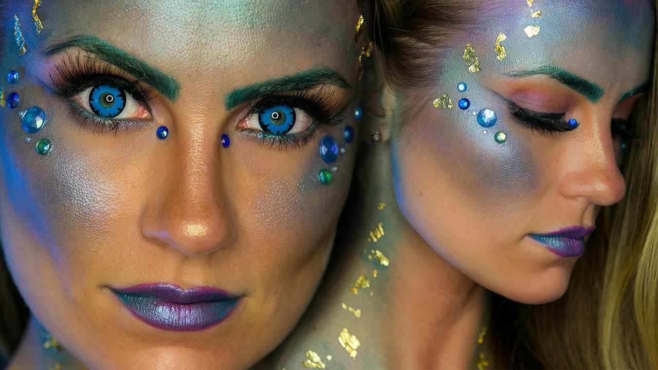 glam mermaid halloween makeup tutorial