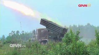 Xem pháo phản lực BM-21 Việt Nam vãi đạn diệt mục tiêu