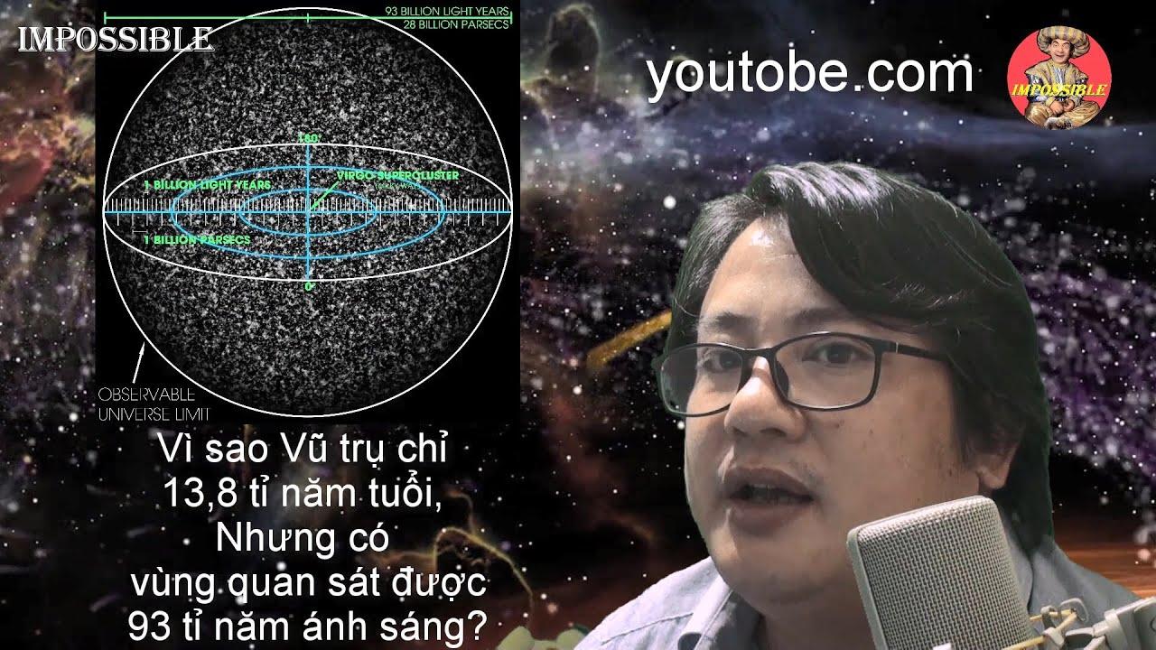 Vì sao Vũ trụ thấy được rộng 93 tỉ năm ánh sáng nhưng tuổi chỉ 13,8 tỉ năm?