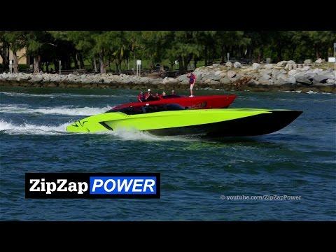 Green Lamborghini SV Boat | MTI 52' Catamaran SuperVeloce