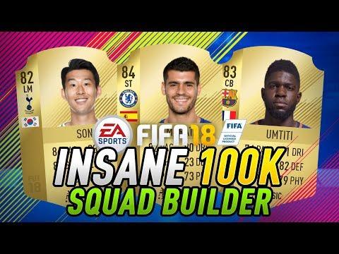 FIFA 18 INSANE 100K HYBRID SQUAD BUILDER! w/ MORATA, SON & UMTITI