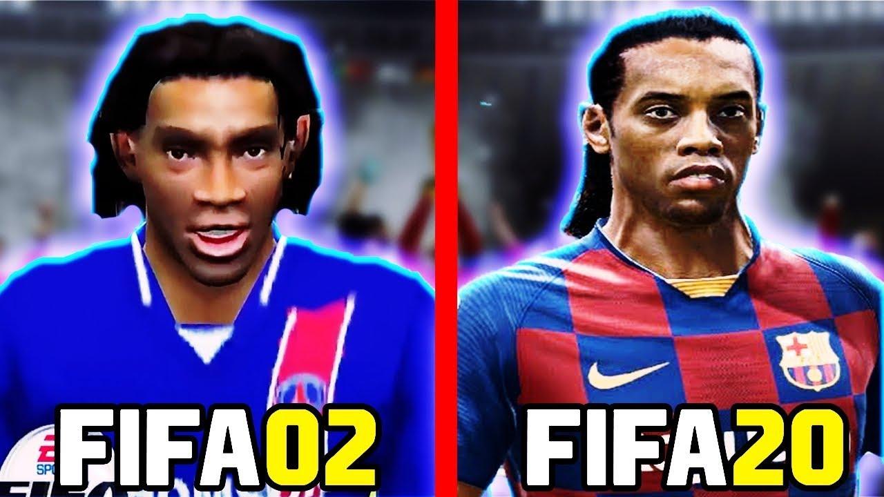 FIFA 02 to FIFA 20 - ANALISE DE UM IDIOTA! (BEST RONALDINHO FACES COMPARISON) 60FPS