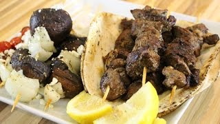 Greek Style Lamb Souvlaki with Grille Mushroom Skewers