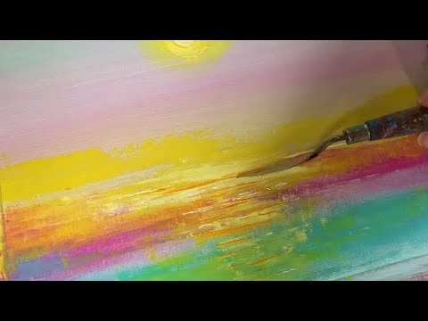 Abstract Sunset Landscape Painting Demo | SUPER EASY for beginners | Acrylics | Art Therapy