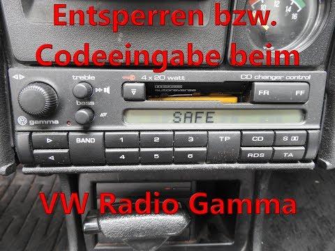 Entsperren bzw. die Codeeingabe bei einem VW Radio Gamma Radiocode Code eingeben nach Safe