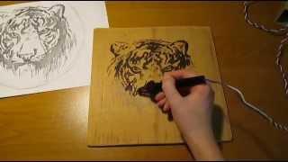 Скачать Пирография выжигаем по дереву тигра