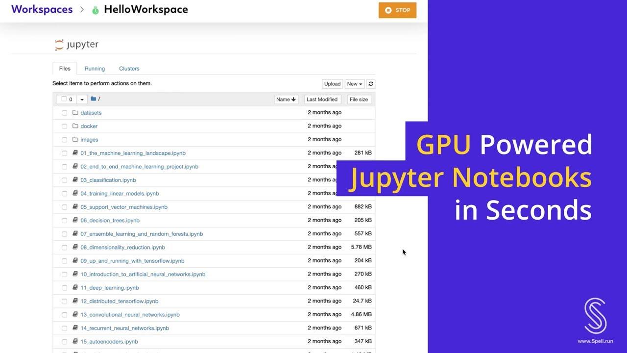Spell - Jupyter Notebook Server - GPU Powered