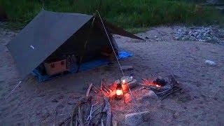 上流の河原でキャンプして、焚火で料理してみた