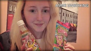 ASMR Candy Unboxing: Ear-to-Ear Crinkling, Tapping, Letter Tracing, Gum Chewing, Eating- Soft Spoken