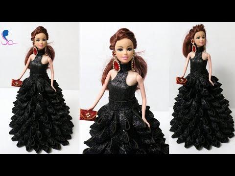 DIY Doll Decoration using Foam Glitter Sheet/Making Doll Dress & Mini Purse/Doll Decor ideas