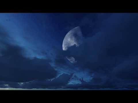 ( CGI 4k Stock Footage )  Halloween Huge Moon Twilight Night Sky Red Purple Clouds Seamless Loop 5
