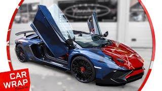 Red Lamborghini Aventador SV with BlockChip Decals
