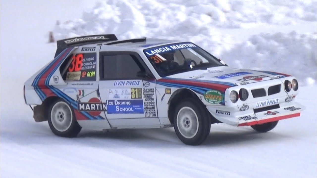 lancia delta s4 group b martini racing in action on snow! - pure