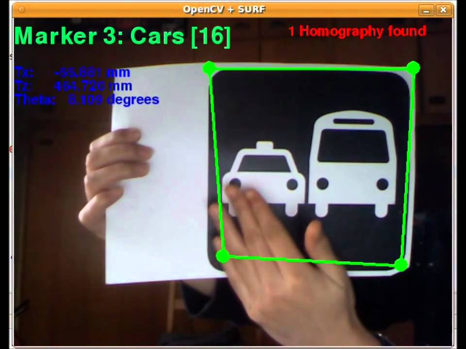 Marker Recognition using SURF Descriptors and OpenCv