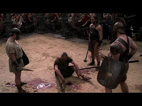 Titus Pullo in the arena gladiator battle HD