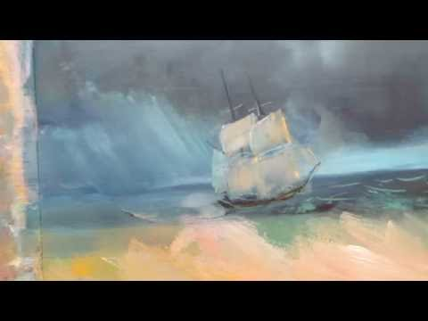 Oil painting. Seascape based on paintings by Ivan Aivazovsky. Part 1.