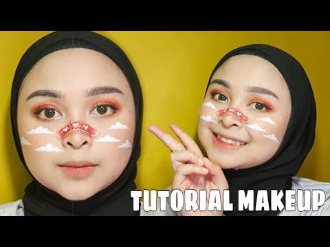 cara-gampang-tutorial-makeup-gambar-plester-&-awan- -face-painting