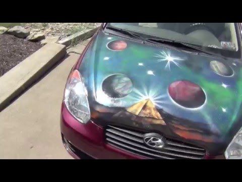 spray paint art car hood painting by carmen p monroe youtube. Black Bedroom Furniture Sets. Home Design Ideas