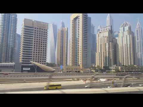 Virtual Tour Dubai Marina Metro train Ride _dubai united arab emirates