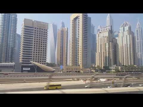 Virtual Tour Dubai Marina Metro train Ride _dubai united arab emirates