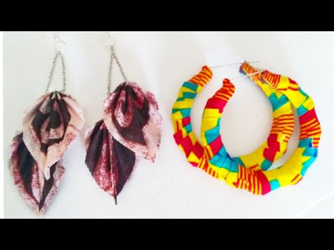 Two different quick and easy DIY earrings | African fabric | flowers earrings