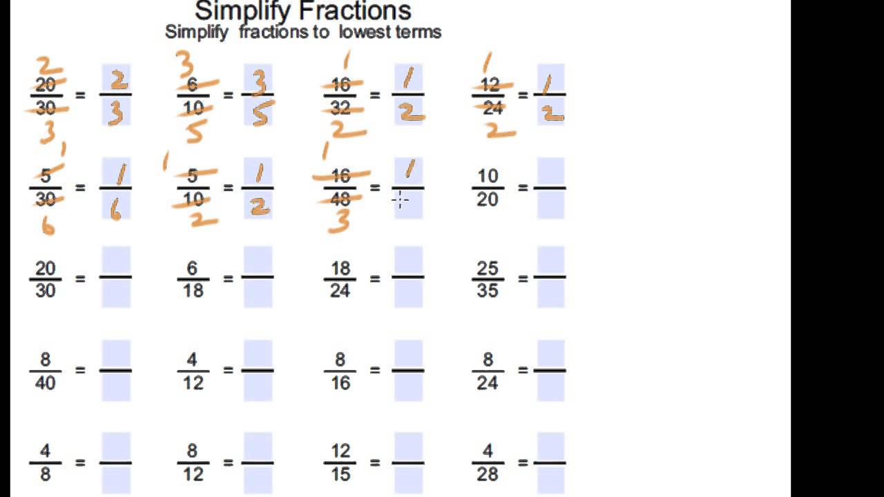 Simplify Fractions Year 3